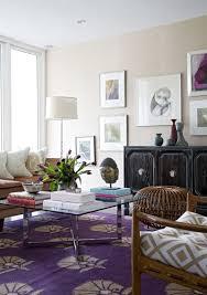 mid century modern eclectic living room. Purple Medallion Rug Mid Century Modern Eclectic Living Room