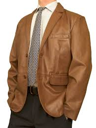 mens luxury leather blazer jacket 2 on tan