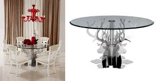 a class on its own the emptation dreama round luxury glass dining table provides your dining room ont service while you dine with your family and