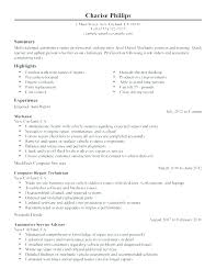 Automotive Resume Best Automotive Technician Resume Objective Auto Mechanic Resume