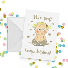 Baby Girl Congratulations Card A5 By Giddy Kipper