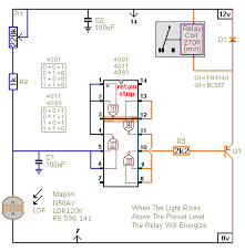 two simple ldr controlled relay circuits circuit diagram for a light controlled relay