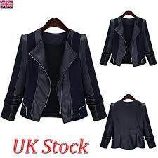 details about women plus size leather splice casual punk jacket las riding biker coat tops