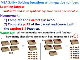 write the equivalent equations and find out how many chocolates are in each box represented