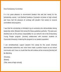 scholarship re mendation letter examples scholarship re mendation letter from guidance counselor