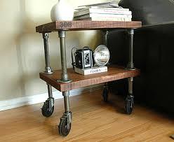 industrial furniture wheels. Metal And Wood Industrial Table On Wheels Furniture O