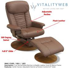 mac motion 7100 swivel glider recliner chair with ottoman saddle leather walnut 1 of 5free see more