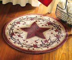 primitive area rugs round country barn star berry vine accent throw area rug in primitive wool