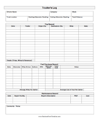 driver trip sheet template a printable log for a truck driver with complete trip record fields