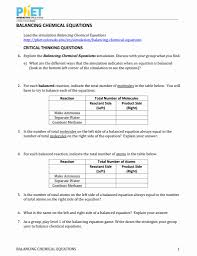 balancing chemical equations phet lab worksheet kidz activities