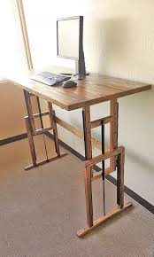 Adjustable Small Standing Desk for Small Home Office with Natural Wall  Color and Nice Carpet