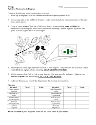 Photosynthesis Chart Worksheet Photosynthesis Diagram
