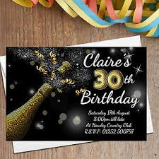 40th Birthday Invitations Details About 10 Personalised Gold Glitter 18th 21st 30th 40th Birthday Party Invitations N209