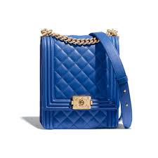 Chanel Bags Blue Classic Chanel Boy Chanel Handbag Blue Calfskin Goldtone Metal Default View