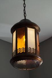 dutch arts and crafts copper and byzantine glass pendant light unique hall lantern for