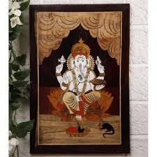 unravel india ganesha wooden inlay wall painting