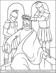 Sorrowful Mysteries Rosary Coloring Pages The Crowning Of Thorns
