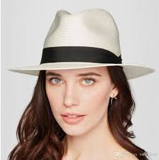 2019 Women\u0027S Fedora Straw Hats Casual Sun Shading With Black Band Holidays Style Stingy Brim Floppy Panama Tophats Lace Ribbons QF From Two_hats,