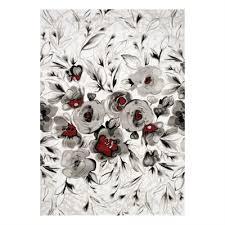 kalora platinum white grey red rose area rug