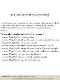 Legal Collector Sample Resume Top224legalcollectorresumesamples22450723022425524lva224app62249224thumbnail24jpgcb=22424376240003 20