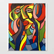 african traditional tribal women abstract art canvas painting series 3 canvas print
