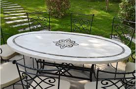 180x100cm outdoor garden mosaic marble stone dining table ellipse