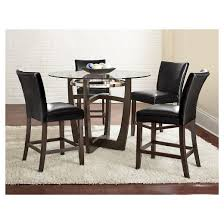 5 Piece Counter Height Dining Table Set WoodBlack  Steve Silver Margo
