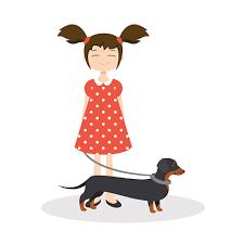 Иллюстрация Счастливый Улыбающаяся Девочка С Ее <b>Такса</b> ...