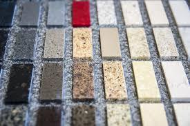 granite and quartz samples for kitchen counter