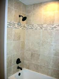 shower surround tile tub with linear mosaic and bronze plumbing fixtures prep wall kit surro