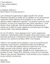 sample pharmacist cover letter speculative covering letter examples