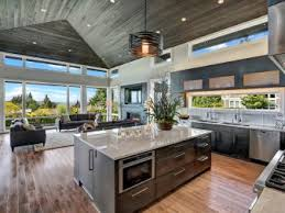 Open Kitchen With Vaulted Ceiling And Oversize Island