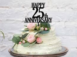 Happy 25th Wedding Anniversary Cake Topper Happy 25th Etsy
