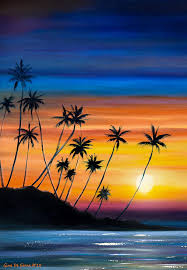 home decor painting palm trees beach sunset by gina de gorna