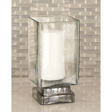 glass hurricane candle holders litton lane 10 in rectangular frosted holder