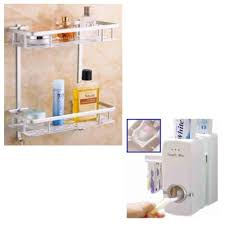 stainless steel bathroom shelves. Bathroom Shelves Stainless Steel 2 Layers Multifunction With Automatic Toothpaste Dispenser Toothbrush Holder Philippines E