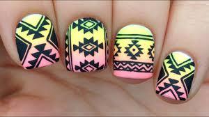 Tribal Print Nail Designs Nail Art Tutorial Tribal Aztec Print Over Neon Gradient