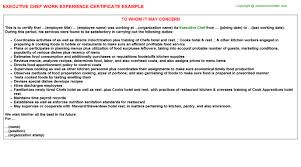 Cook Work Experience Letter Template Daremycompany Com
