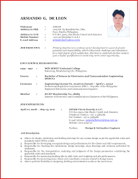 New Formats Of Resumes Examples Job Resume Form Format 2012 Template