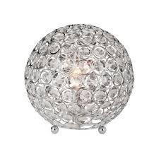 chrome and crystal ball table lamp