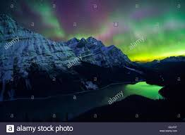 Northern Lights Banff Today Aurora Borealis Northern Lights Over Peyto Lake Banff