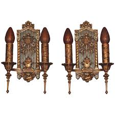 bronze 1920s tudor gothic wall sconces 1