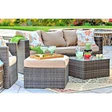 outdoor wicker table 4 piece all weather dark brown wicker patio seating set with beige cushions outdoor wicker table