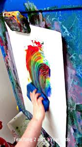 Teaching 2 and 3 Year Olds: Rainbow Sponge Painting on the Easel