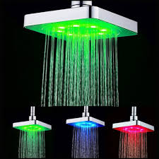 6 inch square 7 colors changing led shower head bathroom rainfall spray heads 19 64 free gearbest com
