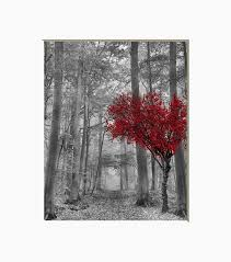 black white red tree wall decor pop of