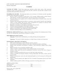 Awesome Collection Of Cashier Duties Description Resume Epic First