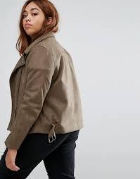 missguided plus au missguided plus size faux suede biker jacket women khaki
