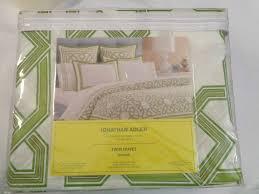 nip jonathan adler twin duvet green 100 cotton 400 thread count msrp 225