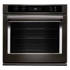 kitchenaid 30 in single electric wall oven self cleaning with convection in black stainless